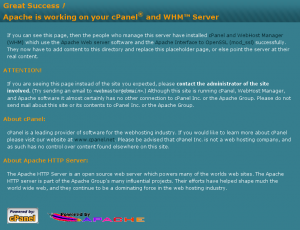 The default page cPanel displays for unknown host names