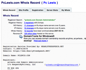 DomainTools whois report for pclewis.com
